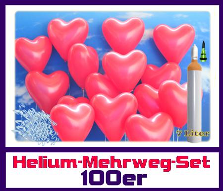 Ballons Helium Mehrweg-Set. 100 rote Herzluftballons