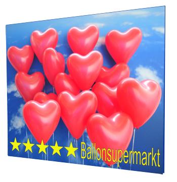 Ballons zur Hochzeit, Helium-Mehrweg-Set mit 30 roten Herzballons
