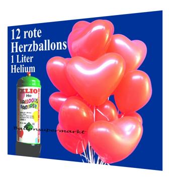 Luftballons zur Hochzeit, Helium-Mini-Set mit roten Herzballons
