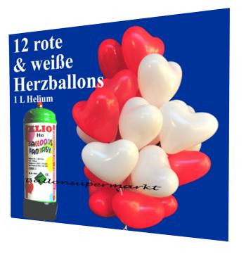 Luftballons zur Hochzeit, Helium-Mini-Set mit roten und weißen Herzballons