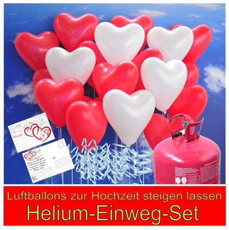 Luftballons zur Hochzeit steigen lassen, Helium-Einweg-Set