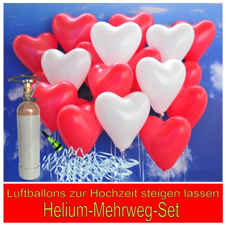 Luftballons zur Hochzeit steigen lassen. Helium-Mehrweg-Set.